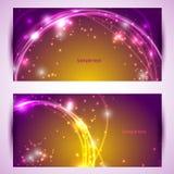 Un insieme di due insegne, intestazioni astratte con le scintille dorate Fotografie Stock