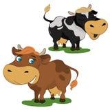 Un insieme di due mucche del fumetto Fotografia Stock Libera da Diritti