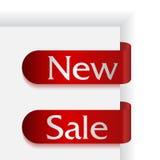 Un insieme di due nastri con le parole nuove e la vendita Fotografie Stock