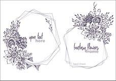 Un insieme di due telai floreali di vettore in bianco e nero con i mazzi dei fiori fansy royalty illustrazione gratis