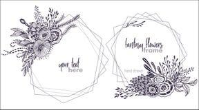 Un insieme di due telai floreali di vettore in bianco e nero con i mazzi dei fiori fansy illustrazione vettoriale