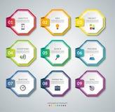 Un insieme di 9 elementi dell'ottagono per il infographics Insegne variopinte di vettore illustrazione vettoriale