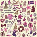 Un insieme di 58 elementi di progettazione Il ` disegnato a mano adorabile s i del nuovo anno Immagine Stock
