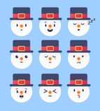 Un insieme di un emoticon da nove inverni Pupazzo di neve Emoji Illustrazione di vettore Fotografie Stock Libere da Diritti