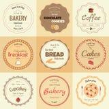 Un insieme di 9 etichette del forno del cerchio Fotografie Stock