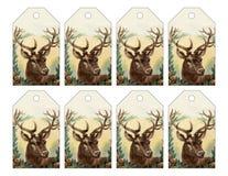 Un insieme di 8 etichette della renna per il Natale o l'inverno royalty illustrazione gratis