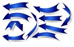 Un insieme di 10 frecce blu Fotografie Stock Libere da Diritti