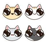 Un insieme di 4 gatti di Kawaii 4 fronti del gatto Fotografia Stock