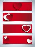 Un insieme di giorno di biglietti di S. Valentino di quattro insegne di web Fotografie Stock