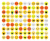 Un insieme di grande di un'emozione di 99 colori isolato su bianco Emoji Fotografie Stock Libere da Diritti