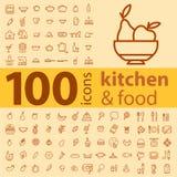 Un insieme di 100 icone dei tipi differenti di pentole, alimento, frutti Immagini Stock