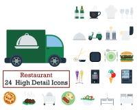 Un insieme di 24 icone del ristorante Immagini Stock Libere da Diritti