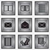 Un insieme di 9 icone della cancelleria Fotografie Stock Libere da Diritti