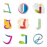 Un insieme di 9 icone della lettera di J - elementi decorativi Immagini Stock Libere da Diritti
