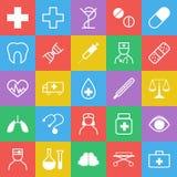 Un insieme di 25 icone della medicina con colore piano d'avanguardia illustrazione di stock