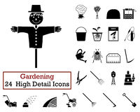 Un insieme di 24 icone di giardinaggio Immagini Stock Libere da Diritti