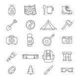 Un insieme di 20 icone di viaggio Immagine Stock