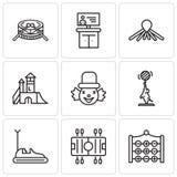 Un insieme di 9 icone editabili semplici quale il dito del piede di tac di tic, calcio, automobile di paraurti, elefante, pagliac Fotografia Stock Libera da Diritti