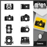 Un insieme di 8 icone monocromatiche piane della macchina fotografica Royalty Illustrazione gratis