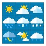 Un insieme di 9 icone per previsioni del tempo Fotografia Stock Libera da Diritti