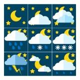 Un insieme di 9 icone per previsioni del tempo Fotografie Stock Libere da Diritti