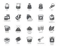 Un insieme di 20 icone piane sul tema di cucina Ingredienti per la cottura e gli accessori della cucina Illustrazione di vettore royalty illustrazione gratis