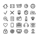 Un insieme di 25 icone regolari nere lineari royalty illustrazione gratis