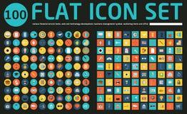 Un insieme di 100 icone sociali di media di vettore Immagine Stock