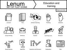 Un insieme di 15 icone su istruzione e formazione Fotografia Stock
