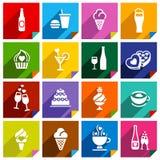 Un insieme di 16 icone sugli autoadesivi dei quadrati Immagine Stock