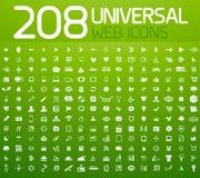 Un insieme di 208 icone dell'universale di vettore Fotografie Stock Libere da Diritti