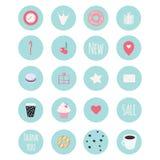 Un insieme di 20 icone di vettore compreso i dolci per la pasticceria fotografia stock