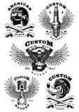 Un insieme di 5 illustrazioni d'annata del motociclista su background_1 bianco illustrazione vettoriale