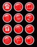 Un insieme di Internet e l'ufficio circondano i bottoni Immagine Stock