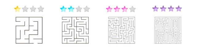 Un insieme di 4 labirinti quadrati per i bambini ai livelli differenti di complessità illustrazione di stock