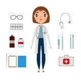 Un insieme di medico di una donna con gli elementi della medicina illustrazione di stock