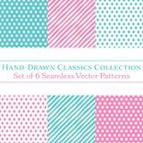 Un insieme di 6 modelli coordinati disegnati a mano classici, pois e bande diagonali di Candy, in menta e nel rosa di bambino illustrazione di stock