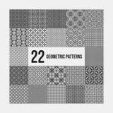 Un insieme di 22 modelli geometrici monocromatici complessi Fotografia Stock Libera da Diritti