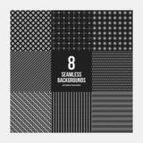 Un insieme di 8 modelli geometrici semplici Fotografia Stock Libera da Diritti