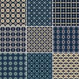 Un insieme di 9 modelli geometrici senza cuciture Fotografia Stock Libera da Diritti