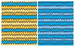 Un insieme di 2 modelli irregolari senza cuciture astratti di vettore con progettazione blu, gialla e nera disegnata a mano di Ch illustrazione di stock