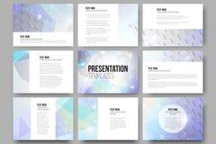Un insieme di 9 modelli per gli scorrevoli di presentazione illustrazione di stock