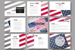 Un insieme di 9 modelli per gli scorrevoli di presentazione Fondo di giorno di presidenti con la bandiera americana, illustrazion Immagine Stock
