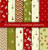 Un insieme di 12 modelli senza cuciture di Natale Fotografia Stock