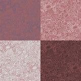 Un insieme di 4 modelli senza cuciture ornamentali astratti nel colore di marsala Immagine Stock