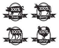 Insieme delle etichette di macelleria Fotografia Stock