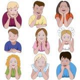 Un insieme di nove bambini piccoli Immagini Stock Libere da Diritti