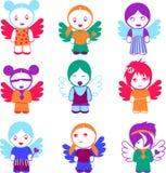 Un insieme di nove bambole variopinte di angelo. Immagine Stock