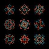 Un insieme di nove elementi del modello di Teal Orange Line Art Geometric di vettore Fotografia Stock