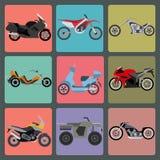 Un insieme di nove icone delle motociclette Fotografie Stock Libere da Diritti